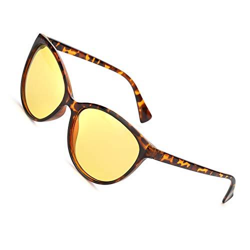 MuJaJa Gafas de conducción nocturna, gafas de visión nocturna polarizadas HD, gafas de visión clara antirreflejos de ojo de gato para mujer (Gafas con lente amarilla de visión nocturna/tortuga)