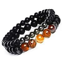 2 Achat Armbänder, Zwei Naturstein Energie Perlen Stein Perlen Armband Set, Elastisches Armband Unisex Geburtstagsgeschenk