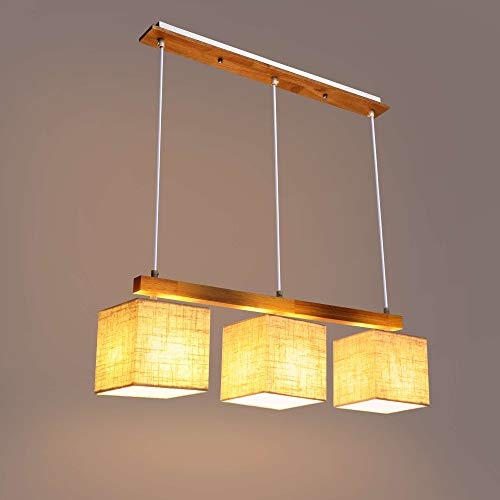 LIGHTESS Pendellampe mit Holz 3 Flamming, Pendelleuchte Stoff Esstisch Modern, Hängellampe Höhnverstellbar, Deckenlampe E27 für Esszimmer, Wohnzimmer, Büro