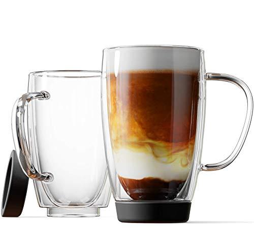 Stone & Mill Double Walled Insulated Glass Coffee Mugs, Silicon Base, Non slip for Espresso, Latte, Cappuccino, Thermo Glassware, 15 ounce, Set of 2, Gift-boxed - AM-13-SB (Black)
