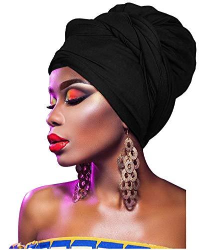 L'VOW Damen Stretch Stirnband Bandana Kappe Langen Kopf Schals Kopfbedeckung Turban Tied (Schwarz)