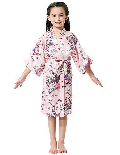 Aibrou Girls' Satin Floral Kimono Robe Nightgown Bathrobe for Wedding Party Pink