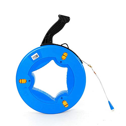 RANZIX Einziehband 60/70m Einziehdraht in Kunststoffgehäuse Einziehspirale mit Führungsfeder Polyester Einziehhilfen ideales Einzugsband zur Kabelverlegung (70m)