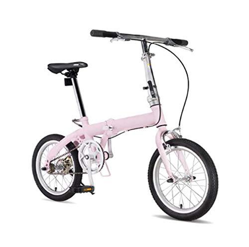 SHIN Klappfahrrad Alu Damen Leicht Kinder Alu City Bike Herren Klapprad Faltrad Klappräder 16 Zoll Falträder Mit Faltbare Pedale,Folding System,Sitz Und Griff Verstellbar 12 Kg/Pink