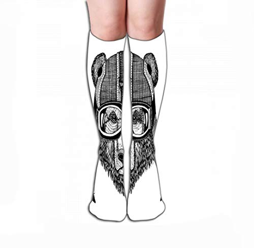 "Compression Socks Women Knee high or Men Best Stockings for Running, Medical,19.7""(50cm) vintage image bear design motorcycle bike motorbike scooter club aero"