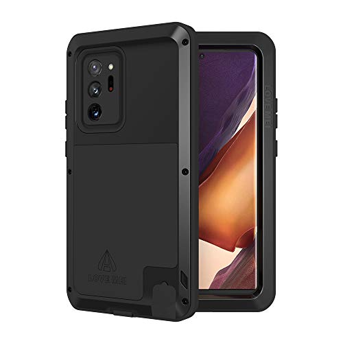 LOVE MEI Galaxy Note 20 Ultra 5g Phone Case, [Without Glass Screen Protector] Full Body Sturdy Defender Hard Cover Heavy Duty Shockproof Dustproof Metal Silicone Case for Samsung Note Ultra 20 Black