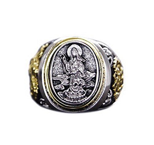 Beydodo Anello in Argento 925 Argento Lotus Guanyin Bodhisattva Taglia 20
