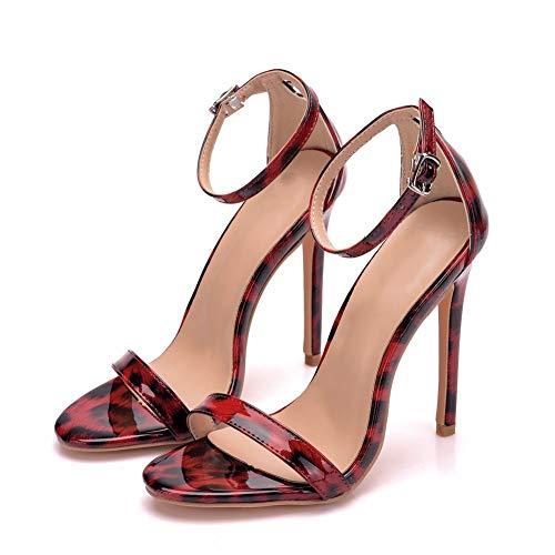 Tacones de mujer, sandalias romanas huecas de 11 cm, sandalias de charol...