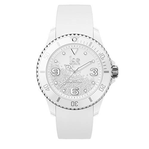 Ice-Watch - ICE crystal White silver - Weiße Damenuhr mit Silikonarmband - 017246 (Medium)