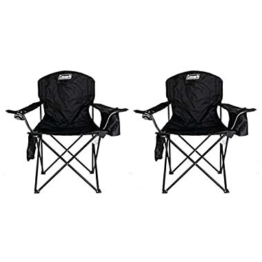 2-Pack Coleman Cooler Quad Chairs With Built-In Cooler, Black | 2 x 2000020267