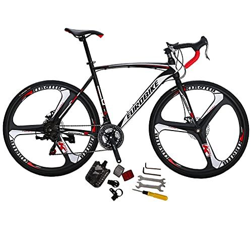 Eurobike Bikes XC550 54 cm Frame 21 Speed Road Bikes 700C K Wheels Road Bicycle Dual Disc Brake Bicycle Black White