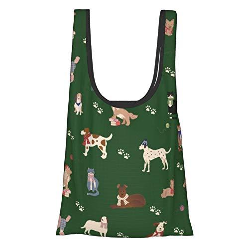 Einkaufstaschen mit Hunde- und Katzenmotiv, wiederverwendbar, faltbar, umweltfreundlich, wasserdicht, Ripstop-Material, mit Tasche