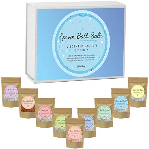 Scented Pure Epsom Salts | Magnesium Sulphate Bath Salt | 10x35G Variety Gift Hamper Box Pack by PSN | Ideal for Relieving Sore Muscles | Reduces Inflammation