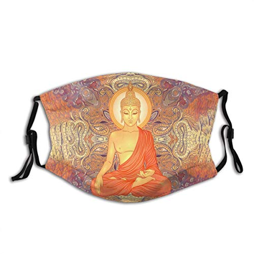 Mundschutz Windproof Mouth Cover Buddhas Sitting On Ornate Mandala Teenagers and Adults Unisex Defense Adjustable Earloops Washable Reusable Mouth-Muffle