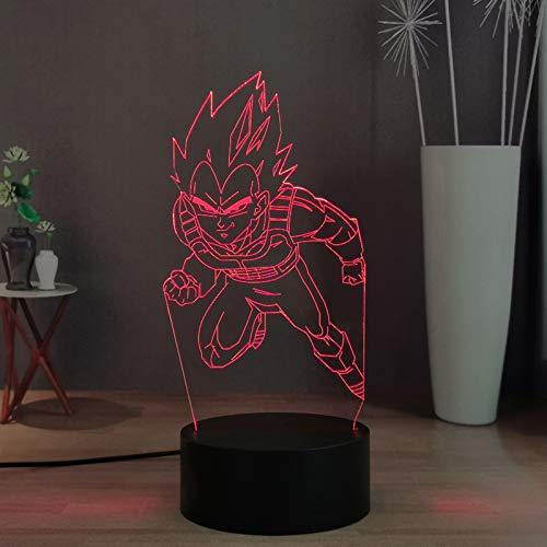 Dragon Ball Z LED Night Lamp Decor, God Goku Vegeta 16 Couleurs Télécommande Bureau Lampe pour Kid Night Light, Cadeau de vacances d'anniversaire pour enfants/adolescents