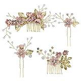 Toyvian 4 Pcs Mariée Cheveux Peigne Ensemble Coiffure de Mariée Accessoires de Cheveux de Mariage Fleur Casque pour Les Femmes