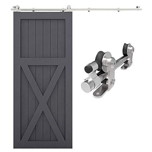 CCJH 200cm/6.6FT Herraje para Puertas Correderas Kit de Accesorios de Acero Inoxidable, Kit de Riel de Puerta de Madera única (Forma T)