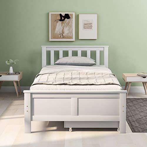 Marco de cama individual para dormitorio, marco de cama de madera maciza con cajón, cajón de rodillos, cama con almacenamiento, cama individual para adultos, 3 pies, color blanco