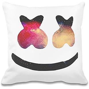 Galaxy Marshmello Face Custom Printed Decorative Pillowcase - 100% Soft Polyester - Decorative Home Accessories