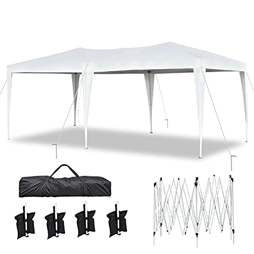 10'x20' Pop Up Canopy Tents Heavy Duty 10x20ft Ez Up Canopy Outdoor Instant Shelter Party TentsOutdoor Event Gazebo Waterproof White Canopies with Portable Bag