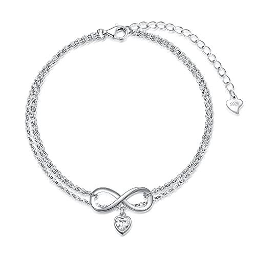 SOULMEET Pulsera tobillera de plata de ley 925 con símbolo de corazón infinito, regalo para mujeres y niñas
