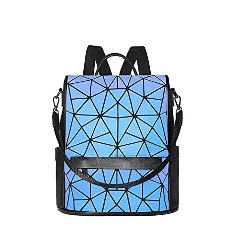 QIANJINGCQ Zaino per computer cool di grande capacità da viaggio con personalità geometrica luminosa a rombo moda all'aperto