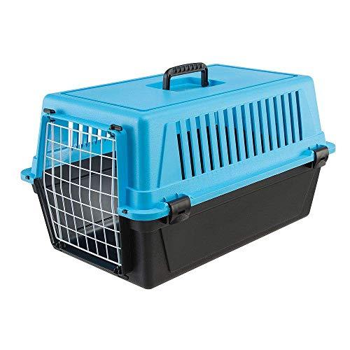 Ferplast Transportbox für kleine Hunde und Katzen Atlas 20 EL, Transportbox für Tiere, robuster Kunststoff, Tür aus kunststoffbeschichtetem Stahl, Lüftungsgitter, 37 x 58 x 32 cm, blau