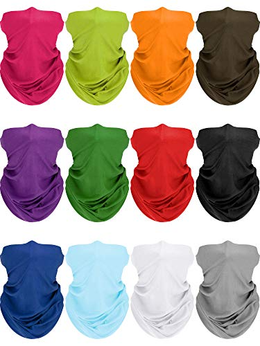 SATINIOR 12 Pieces Summer Neck Gaiter Sun Protection Neck Gaiter Scarf UV Protection Balaclava Face Clothing for Outdoor Cycling Running Hiking Fishing Motorcycling