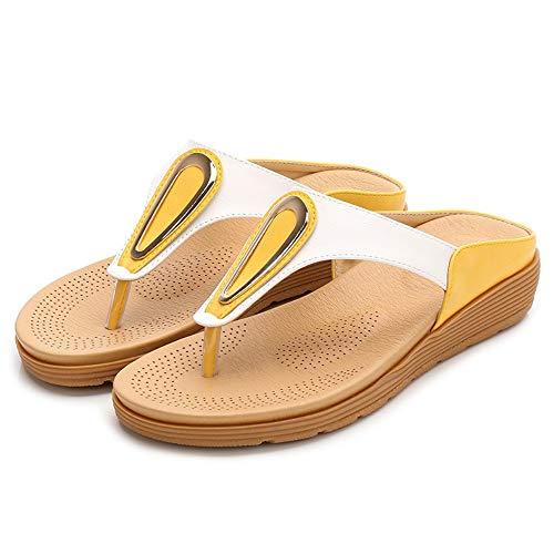 Magicrulu Damenhausschuhe Zehenklammern Strandschuhe Metalldicke Sohlen Damen Flache Sohlen Weiß Gelb 37