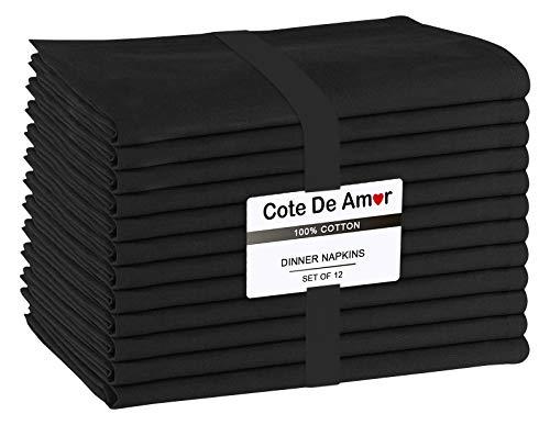 Cote De Amor Stoffservietten 12er-Set 100% Baumwolle 44x44 cm für Veranstaltungen und regelmäßige Heimnutzung, Weich Bequem Maschinenwaschbar Wiederverwendbare Servietten Schwarz