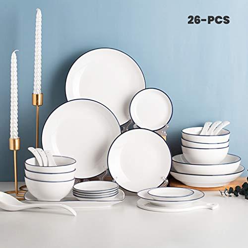 WLNKJ Juegos De Vajillas De Porcelana, Tazón/Plato/Cuchara | Borde Azul Pintado a Mano Juego De Vajilla De 26 Piezas Juego De Combinación De Porcelana Blanca Pura - Restaurante para Fiestas