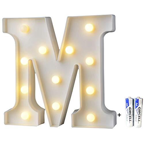bemece LED Buchstabe Lichter Alphabet, LED Brief Licht, Led dekoration für Geburtstag Party Hochzeit & Urlaub Haus Bar - Buchstabe M