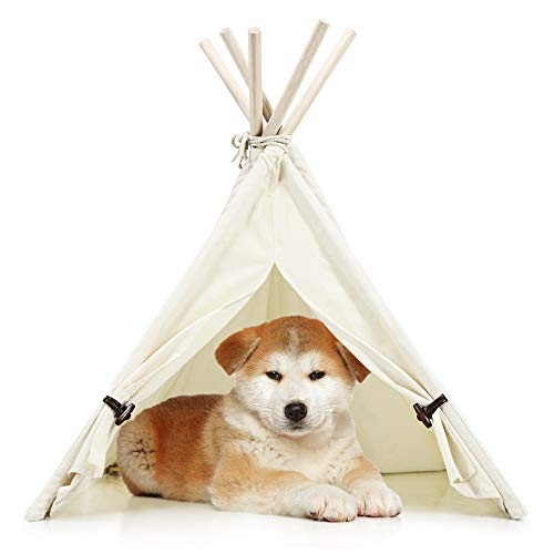 Tangkula Pet Teepee, Portable Pet House w/Stable Structure & Strong Rope for Puppy Cat Rabbit, 33 Inch Washable Indoor Outdoor Pet Sleep Bed Luxury Cozy Cave w/Cotton Canvas Fabric (Beige)