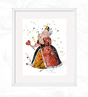 Queen of Hearts Prints, Alice in Wonderland Disney Watercolor, Nursery Wall Poster, Holiday Gift, Kids and Children Artworks, Digital Illustration Art