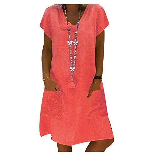 Morbuy Vestidos De Fiesta para Bodas Elegante Color Sólido Vestidos Playa Mujer Vestidos Casuales Vestido Midi Vestido Suelto Vestidos Talla Grande S-8XL (6XL,Rojo Naranja)