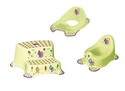 3er Set Z Hippo grün WC Aufsatz + Kindertopf + Hocker zweistufig Toilettentrainer