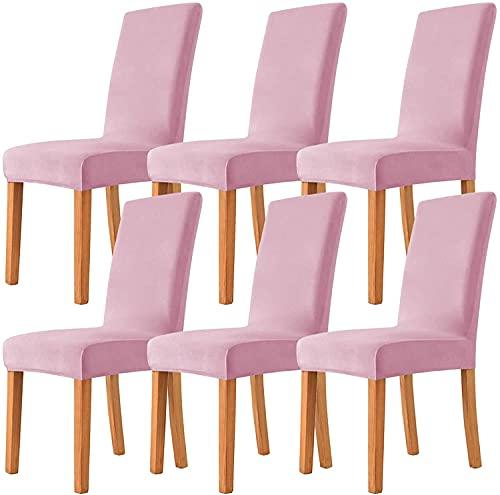 LXWCY Fundas de silla de terciopelo elástico para sillas de comedor, fundas de terciopelo extraíbles para sillas de comedor (6 unidades), color rosa