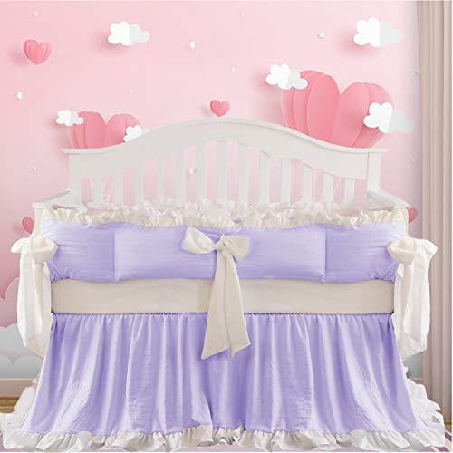 Brandream Purple Crib Bedding Sets for Girls Luxury Princess 8 Piece Ruffle Nursery Bedding 100% Cotton Elegant Newborn Infant Cradle Set