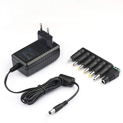 KFD Cargador 12V 220V Alimentador Adaptador Universal Corriente Para Western Digital, Disco duro externo, Dvd externo, LED Power Strip Fuente alimentación Transformador 12V 2A Power Supply Con 8 Tipos