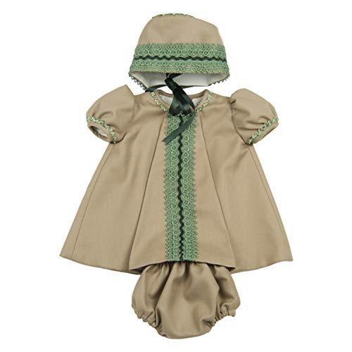 MI HIJA Y YO Vestido Cubre-Pañal y Capota Mimosa para Bebé Niña Colección Susurros- Hecho a Mano - Excellent (Marrón Camel, 6_Months)