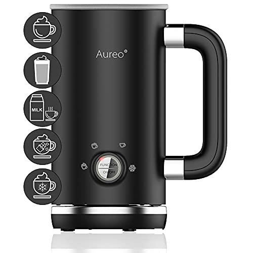 Aureo Elektrischer Milchaufschäumer in Schwarz - Milchschäumer mit 5 Funktionen für warmen und kalten Milchschaum I Milchschaummaschine Milchheizer