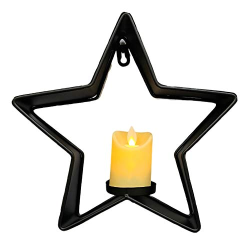THE NIFTY NOOK Metal Star Flameless Pillar Candle Holder for Home Wedding Gift Decoration