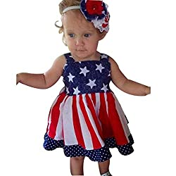 Euone Toddler Baby Kids Girls 4th of July Star Stripe Dress Party Princess Dresses (3-4 Years, Red)