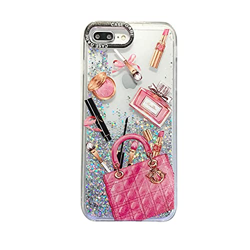 DEIOKL Estuche con patrón de Botella de Perfume para iPhone SE 2020 11 Pro MAX XR 7 8 Plus x XS 10 Funda para teléfono con Purpurina Plateada para Arenas movedizas, para Mujeres, para 12 Mini