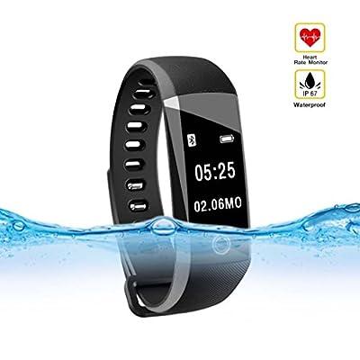 Qcute Fitness Tracker, IP 67 Waterproof Smart Bracelet with Heart Rate Monitor Bluetooth Smart Band Wireless Smart Wristband Pedometer Tracker Calorie Counter Sleep Monitor Smart Sport Watch