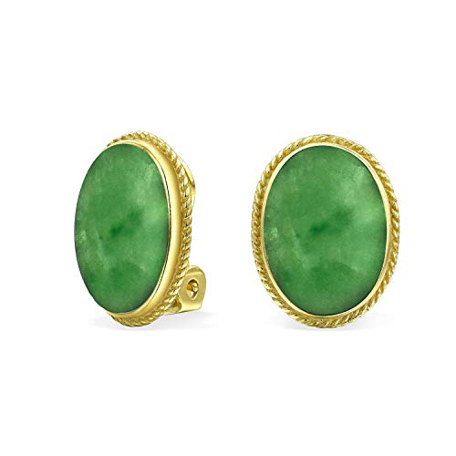 7CT Oval Cabochon Oval Dyed Green Jade Rope Cable Bezel 14K Gold Plated 925 Sterling Silver Clip On Earrings For Women Clip Only Is Alloy
