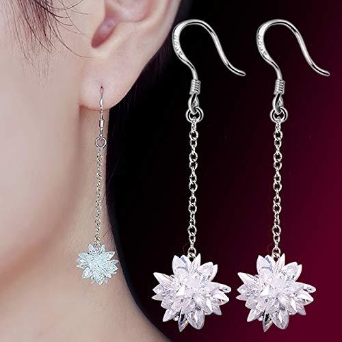 KFYU Eishockey Lange EIS Ohrringe weiblichen gesäumten Zirkon Kristall Silber Ohrringe Ohrringe