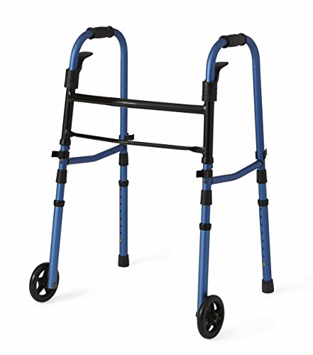 Medline Compact Folding Paddle Walker with Wheels, Blue, 5 inch