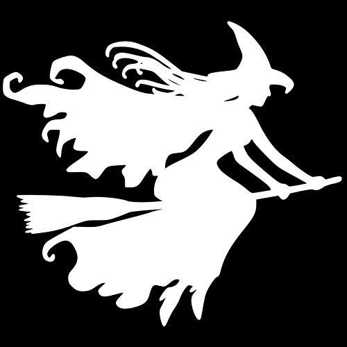 ZHOUHAOJIE Lustige Autoaufkleber Reflektierende Aufkleber Aufkleber 12 8 cm * 11 6 cm Schöne Hexenbesen Autoaufkleber Schwarz/Silber Aufkleber Vinyl Auto Styling 010