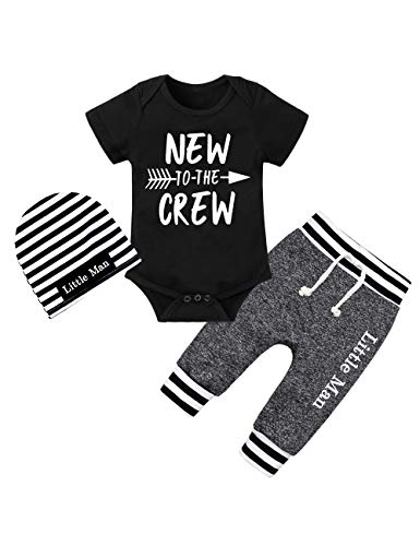 Newborn Baby Boy Clothes New to The Crew Letter Print Short Sleeve Romper+Long Pants+Stripe Hat 3PCS Outfits Set 0-3 Months